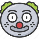 clown, emoji, emoticon, jester, joker, smile