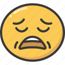emoji, emoticon, exhausted, out, sleep, tired, worn icon