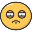 emoji, emoticon, exhausted, sad, sadness, tired icon