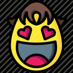 boy, emojis, flirt, hearts, love icon