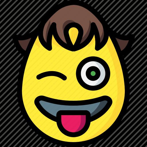 boy, emojis, emotion, naughty, smiley, tongue, wink icon