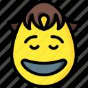 boy, emojis, emotion, happy, laugh, smiley, yeh icon