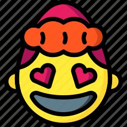 emojis, emotion, flirt, girl, hearts, love icon