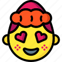 emojis, emotion, girl, hearts, love, shy, smiley icon