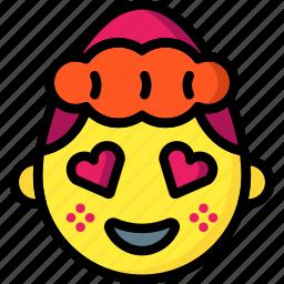 emojis, emotion, girl, hearts, love, shy, smiley icon