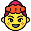 emojis, emotion, first, girl, happy, shy, smiley icon