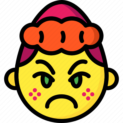 angry, cross, emojis, emotion, girl, smiley icon