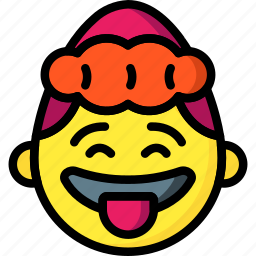 emojis, emotion, girl, silly, smiley, tongue icon