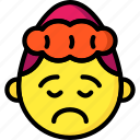 emojis, emotion, girl, sad, smiley, upset icon