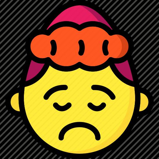 emojis, emotion, girl, sad, smiley, upset icon
