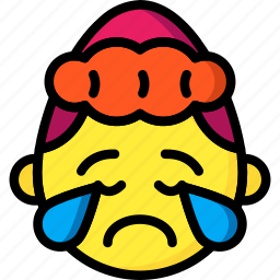 cry, emojis, emotion, girl, sad, smiley, upset icon