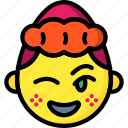 emojis, emotion, flirt, girl, smiley, wink icon