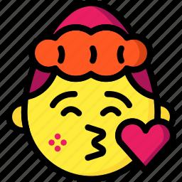 emojis, emotion, flirt, girl, heart, kiss, love icon