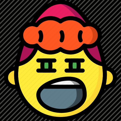 emojis, emotion, girl, sleepy, smiley, yawn icon