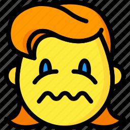 bubble, emojis, emotion, girl, sick, smiley, upset icon