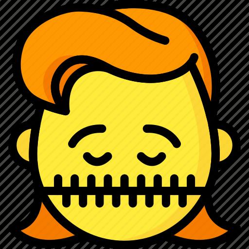 emojis, girl, quite, shut, silent, zipped icon