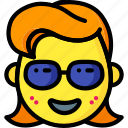 emojis, emotion, girl, glasses, smiley icon