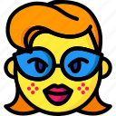 emojis, emotion, girl, glasses, lips, smiley icon