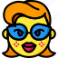 emojis, emotion, girl, glasses, lips, smiley icon