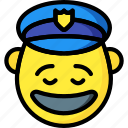 cop, emojis, emotion, happy, man, police, smiley icon
