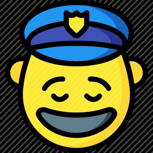 cop, emojis, emotion, happy, man, police, smiley icon