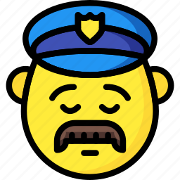 cop, emojis, emotion, man, police, sad, smiley icon