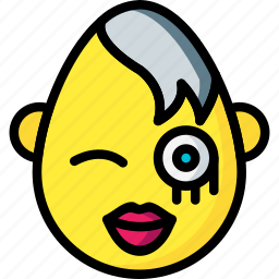 emojis, emotion, goth, lips, smiley, wink icon
