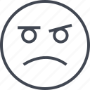 angry, emoji, face, sad, saness icon