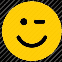 emoji, emoticon, eye, face, wink, wink the eye, winking icon