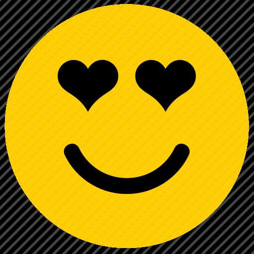 emoji, emoticon, face, happy, heart, love, smile icon