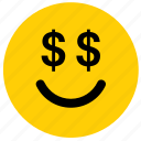 dollar, emoji, emoticon, face, greed, greedy, money icon