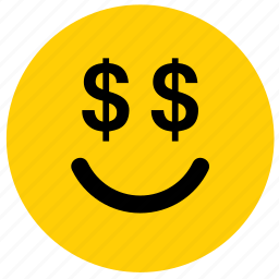 dollar, emoji, emoticon, face, greed, greedy, money icon