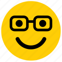 emoticon, glasses, nerd, emoji, face