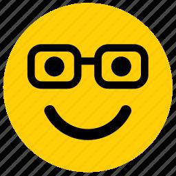 emoji, emoticon, face, glasses, nerd icon