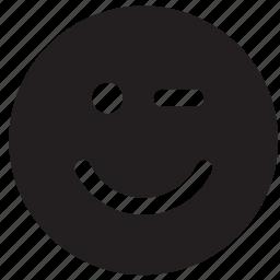 emoji, emoticon, emotion, eye, face, wink, winking icon