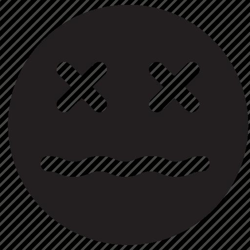 dead, emoji, emoticon, emotion, face, sick icon