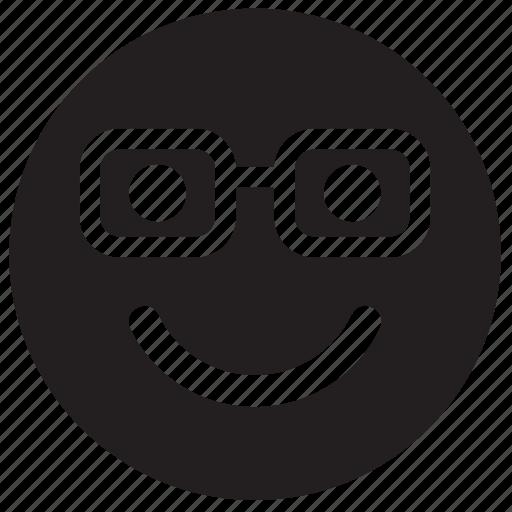 emoji, emoticon, emotion, face, glasses, nerd icon