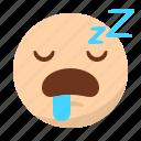 asleep, emoji, emoticon, face, sleep, tired icon