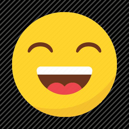 emoji, emoticon, happy, laugh, smile icon