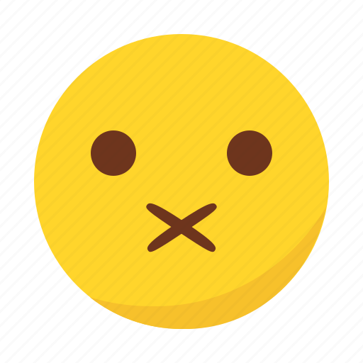 emoji, emoticon, muted, shut up icon