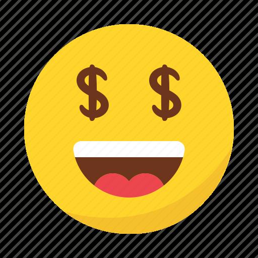 Dollar, emoji, emoticon, happy, money, smile icon