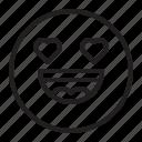 emoticon, heart, in love, smile, love, emoji icon