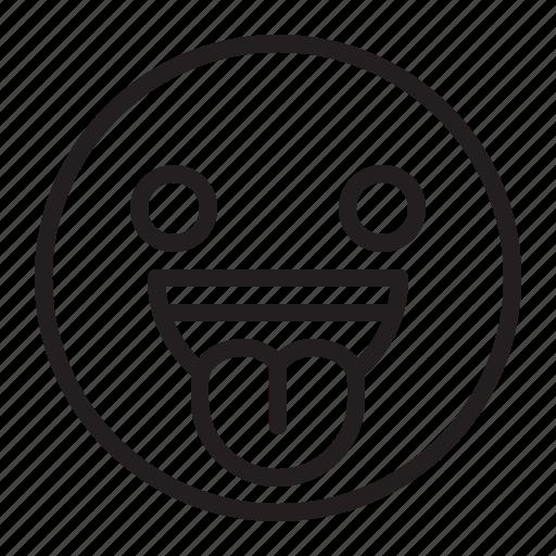 emoji, emoticon, happy, smile, tongue icon