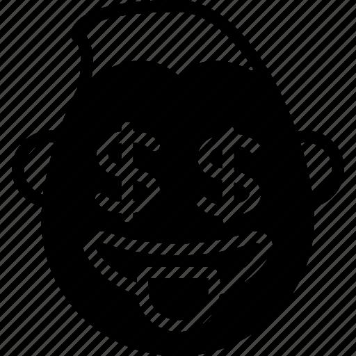 dollar, emojis, emotion, face, guy, smiley icon