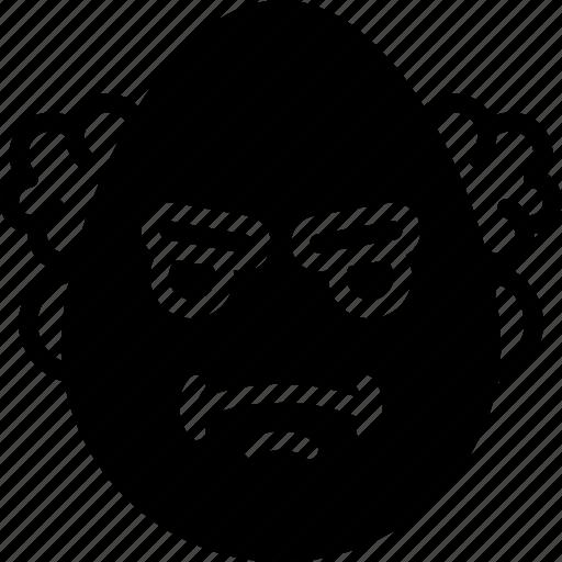 cross, emojis, emotion, face, professor, smiley icon