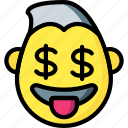emotion, smiley, dollar, face, guy, emojis