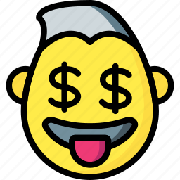 dollar, emojis, emotion, face, guy, smiley icon