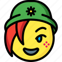 beanie, emojis, emotion, face, girl, smiley icon
