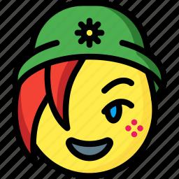 beanie, emojis, emotion, face, girl, smiley icon