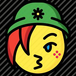 beanie, emojis, emotion, face, girl, kiss, smiley icon